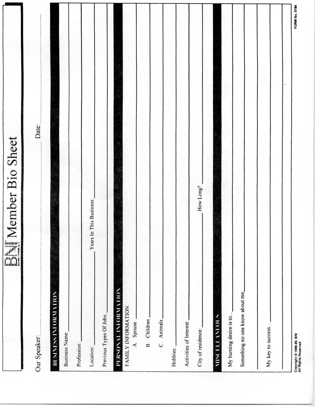 Bio Sheet Template Images